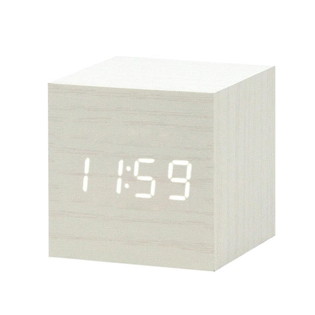 LED Wooden Alarm Clock Watch Table Voice Control Digital Wood Despertador Electronic Desktop USB/AAA Powered Clocks Table Decor