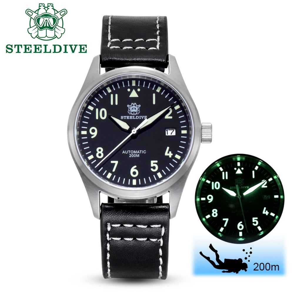 Steeldive Pilot Watch Automatic Mechanical Diver Watch C3 Luminous men's watches divers Sapphire Crystal 200m dive watch NH35