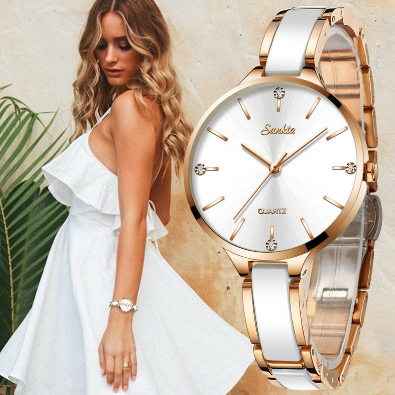 SUNKTA Women Watch Ceramic Watch Women Simple Diamond Clock Casual Fashion Watch Sport Waterproof Wristwatch Relogio Feminino