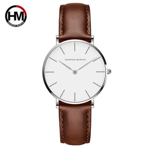 Dropshipping Japan Quartz Simple Women Fashion Watch White Leather Strap Ladies Wrist Watches Brand Waterproof Wristwatch 36mm