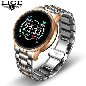 LIGE New Steel Smart Watch Men Waterproof sport For iPhone Heart rate blood pressure call Information smartwatch Fitness tracker