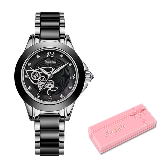 SUNKTA Diamond Surface Ceramic Strap Fashion Waterproof Women Watches Top Brand Luxury Quartz Watch Women Gift Relogio Feminino