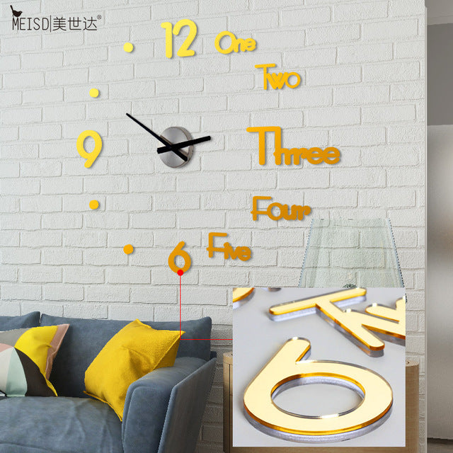 MEISD Large Wall Clock Creative DIY Mirror Stickers Wall  Watch Modern Design home Clocks Living Room Decoration Quartz Needle