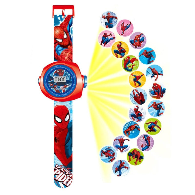 Princess Elsa Spiderman Kids Watches Projection Cartoon Pattern Digital Children watch For Boys Girls Display Clock Relogio