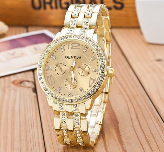 2019 New Famous Brand Gold Crystal Geneva Casual Quartz Watch Women Stainless Steel Dress Watches Relogio Feminino Men Clock Hot