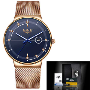 Relogio LIGE Fashion Womens Watches Top Brand Luxury Simple Slim Watch Women Waterproof Mesh Belt Gold Watch Relogio Feminino