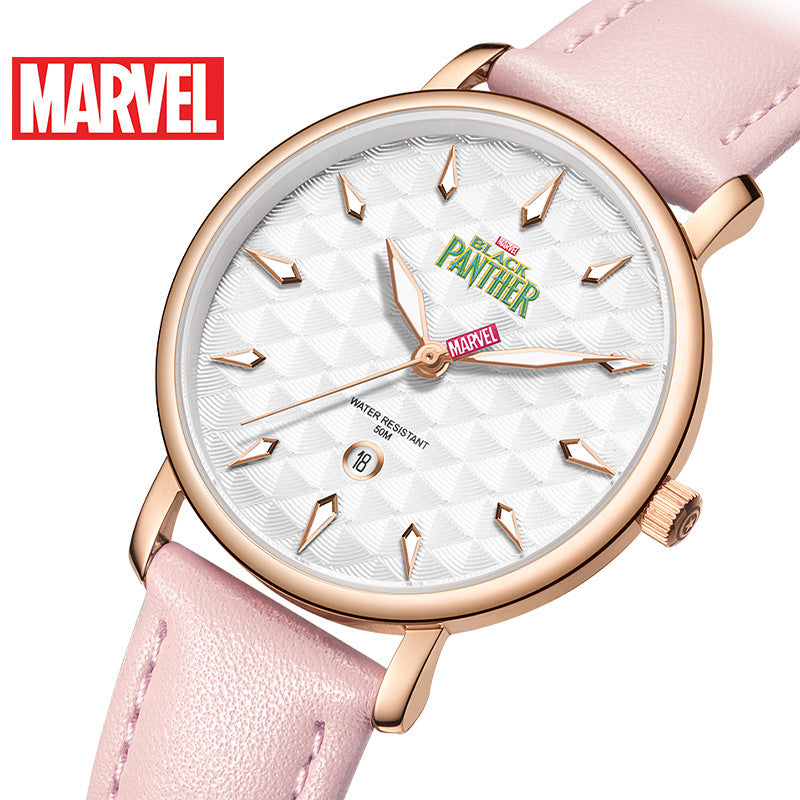 Disney Marvel Women Quartz Watch 5Bar Waterproof Simple Fashion Cute Round Leather Strap Women Watches Gift Alloy Buckle