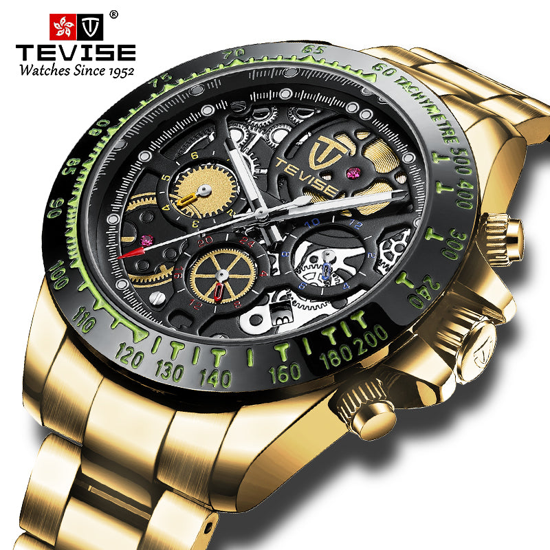 Top Luxury Brand TEVISE Automatic Mechanical Men Watch Unique Chronograph Date Dial Stainless steel Men Wristwatch Male Clock