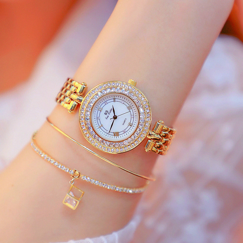 Fashion Round Quartz Watch For Women Ladies Wristwatches Gold Unique Design Quartz Watch Clock Hour Time