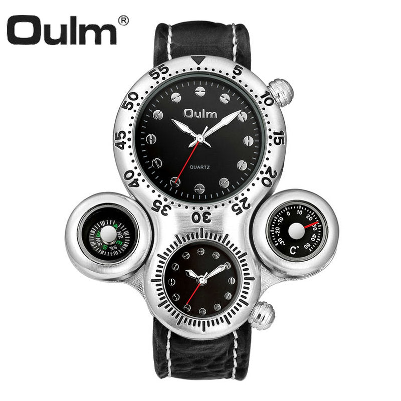 OULM Fashion Quartz Watch Men 2 Time Zone Cool Black Leather Strap Casual Sports Pilot Watches Oversize Male Clock Waterproof