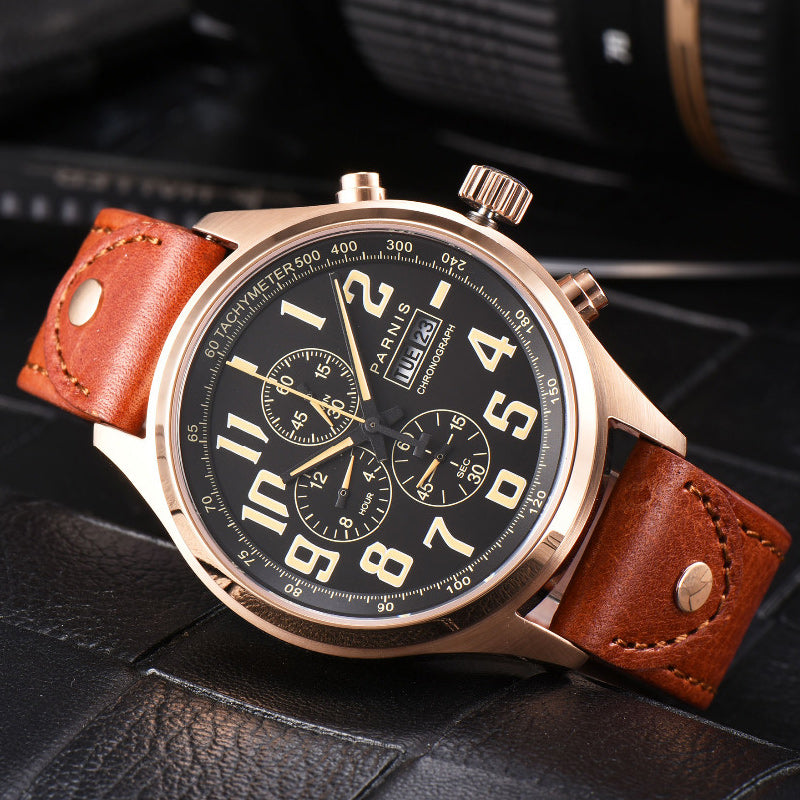 Parnis 43mm Quartz Watch Analogue Chronograph Military Pilot Watch Diving Watch 100m Waterproof Calendar Wristwatch Mens