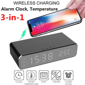 Desk Wireless Charger Alarm Clock For Samsung for Xiaomi for Huawei for iPhone Electric USB Digital 12/24H LED Thermometer Date