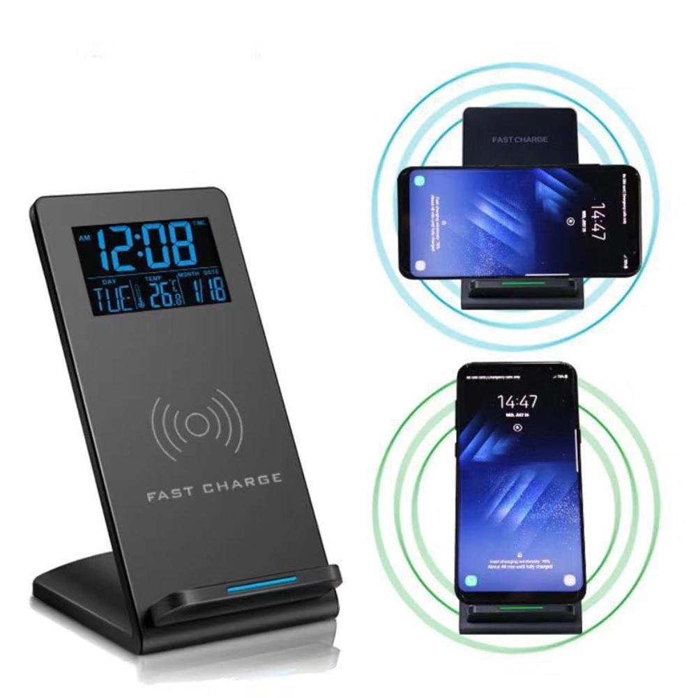 Desktop Wireless Charging Stand Mobile Phone Holder Time Temperature Alarm Clock Charging Adapter Receptor Pad Coil Receiver