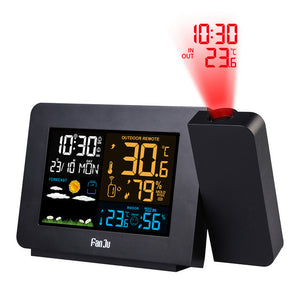 LCD Digital Color Screen Weather Station Projector Backlight Projection Clocks Weather Forecasting Alarm Clocks