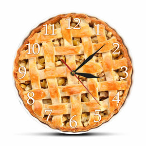 Delicious Homemade Apple Pie Acrylic Printed Wall Clock Sweet Food Desserts Modern Dining Room Decor Art Wall Hanging Watch