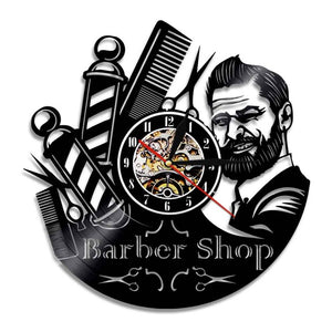 Barber Shop 3D Decor LED Wall Light Barber Toolkits Decorative Laser Cut Longplay Clock Watch Hairdresser Hair Salon Wall Art