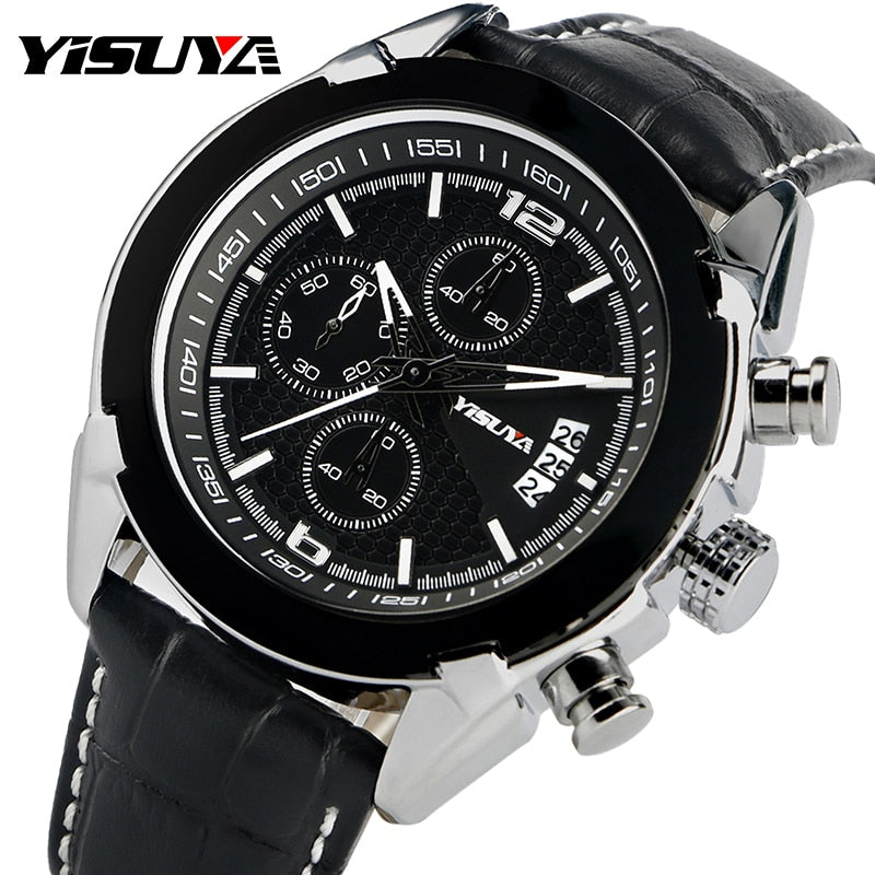 YISUYA Fashion Aviator Pilot Military Men Wrist Watch Date Calender Black Genuine Leather Band Quartz Strap Sport Chronograph
