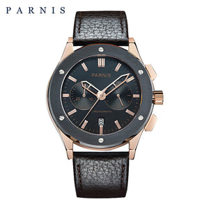 41mm Parnis Watch Men Quartz MensWatches Top Brand Luxury Military Pilot Quartz Men Watch Genuine Leather 50Bar Waterproof Swim