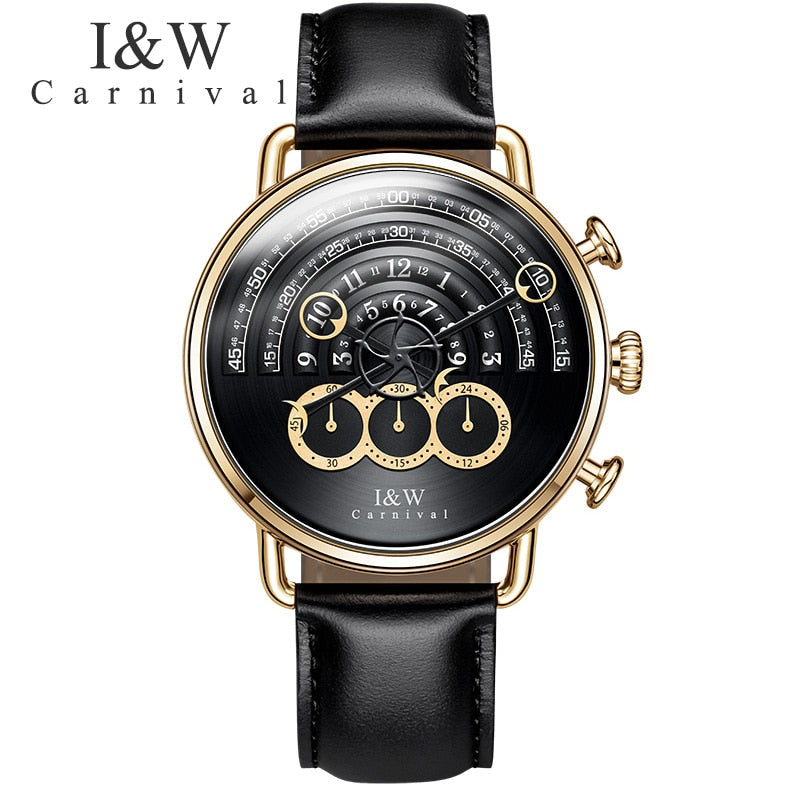 Carnival IW runway dial Unique design luxury brand men watches chronograph stop watch men clocks waterproof relogio reloj hombre
