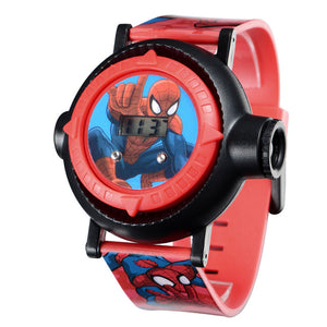 Marvel Ultimate Spider-Man Project 10 Hero Patterns Amazing Children Sport Digital Watch Kids Projector Time Date Rubber Watches