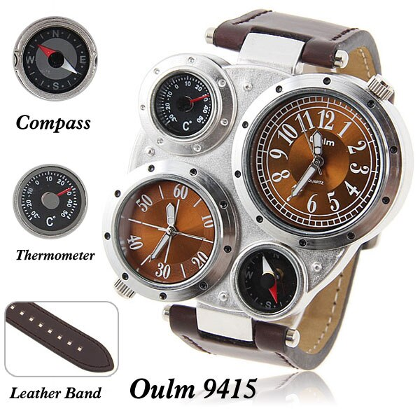 New Oulm Brand Quartz Watch Leather Multi-Function Mens Wristwatch Specialty Adventure Military relogio masculino Drop Shipping