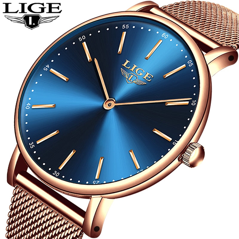 LIGE Super Slim Rose Gold Mesh Stainless Steel Watches Women Top Brand Luxury Casual Clock Ladies Wrist Watch Lady Reloj Mujer