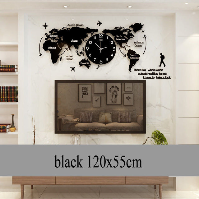 World Map Wall Clock Large Modern Design 3D Stickers Hanging Clock Glowing In Dark Decorative Watch Home Silent Wall Clocks