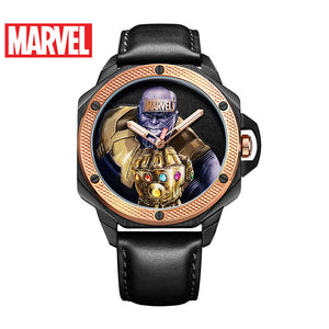 Marvel Avengers Thanos Mens Black Gold Blue Drawing Process Luminous Waterproof Quartz Watch Original Disney Male Sport Watches