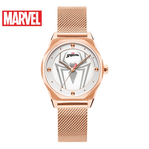 Marvel Avengers Spider Women's Stainless Steel Leather Waterproof Quartz Watch Ladies Time Hero Trendy Watches Disney Super Girl
