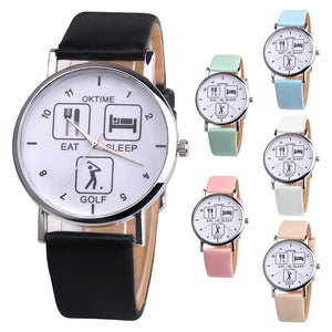 DHL free 100pcs/lot Eat Sleep Golf Design Wristwatch Black and White image part of the Eat Sleep Range Unusual Gift Watches
