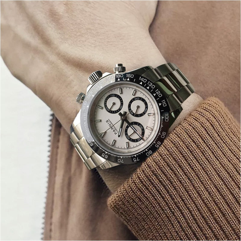 Parnis Quartz Chronograph Watch Men Top Brand Luxury Pilot Business Waterproof Sapphire Crystal Wrist Watch Relogio Masculino