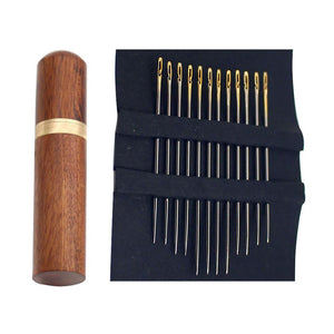 One Second Needles 12 Pcs Gold With Wooden Container