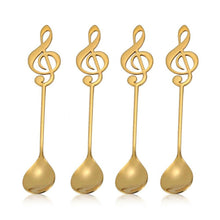 Load image into Gallery viewer, Gold Musical Note Spoon Coffee Tea Spoon