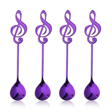 Load image into Gallery viewer, Purple Musical Note Spoon Coffee Tea Spoon