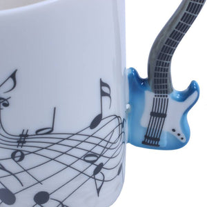 Creative Music Violin Style Blue Guitar Handle Close Up Image