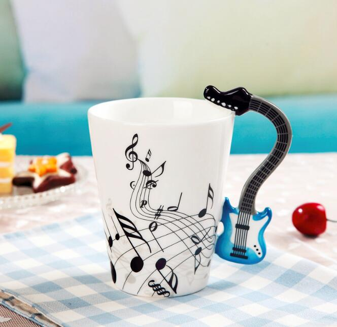 Creative Musical Note Violin Style Blue Guitar Handle Ceramic Mug