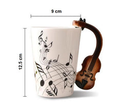 Load image into Gallery viewer, Creative Musical Note Violin Style Brown Guitar Ceramic Coffee Mug Dimensions