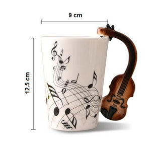 Creative Musical Note Violin Style Brown Guitar Ceramic Coffee Mug Dimensions