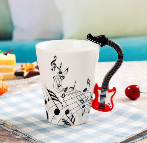 Creative Music Violin Style Red Guitar Handle Ceramic Mug Coffee Tea Milk Stave Cups with Handle Coffee Mug