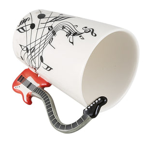 Creative Music Violin Style Red Guitar Handle Ceramic Coffee Mug