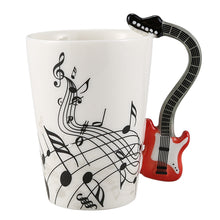 Load image into Gallery viewer, Creative Musical Note Violin Style Red Guitar Ceramic Coffee Mug