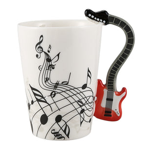 Creative Musical Note Violin Style Red Guitar Ceramic Coffee Mug