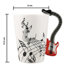 Load image into Gallery viewer, Creative Music Violin Style Red Guitar Ceramic Coffee Mug Dimensions