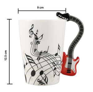 Creative Music Violin Style Red Guitar Ceramic Coffee Mug Dimensions