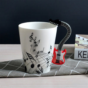 Creative Musical Note Violin Style Red Guitar Handle Ceramic Coffee Mug.