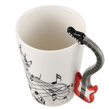 Load image into Gallery viewer, Creative Music Violin Style Red Guitar Handle Ceramic Coffee Mug.