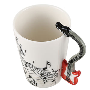 Creative Music Violin Style Red Guitar Handle Ceramic Coffee Mug.