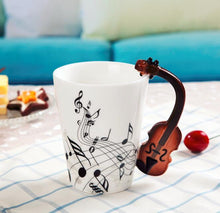 Load image into Gallery viewer, Creative Musical Note Violin Style Brown Guitar Ceramic Mug Coffee Tea Milk Stave Cups with Handle Coffee Mug