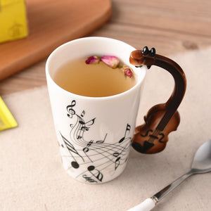 Creative Musical Note Violin Style Brown Guitar Ceramic Mug Coffee Tea Milk Stave Cups with Handle Coffee Mug