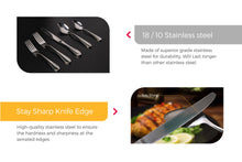 Load image into Gallery viewer, Cutlery Features Sharp serrated Knife and 18/10 stainless steel